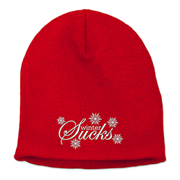 Red Winter Sucks Embroidered Beanies